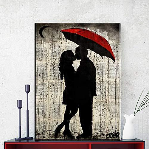 hetingyue Wandkunst Leinwand Bild Modular HD Print Regenschirm Bus Rot Porträt Modernes Leinwand Poster Dekoratives Wandbild Rahmenlose Malerei 70X87CM