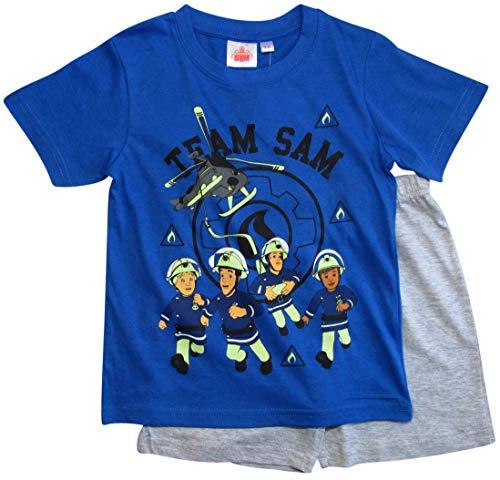 Feuerwehrmann Sam Schlafanzug Shorty Jungen (Blau-Grau, 98-104)
