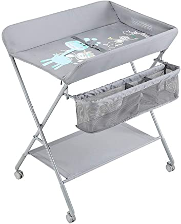 LHSUNTA Changing Table Baby with Large Storage and Brake Wheel  Portable Diaper Station for 0-3 Years Old Newborn 75x65x88cm