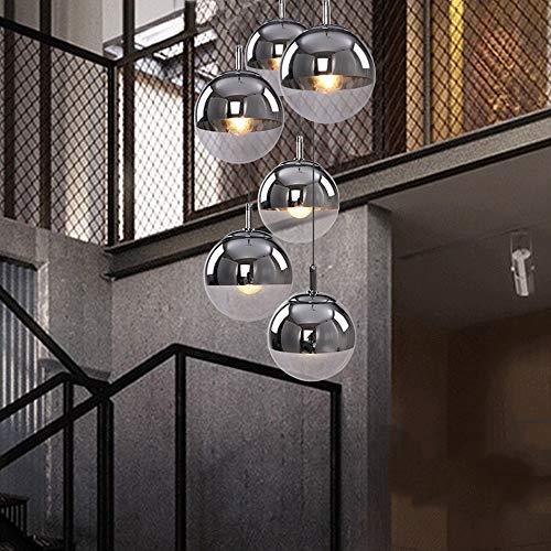 Modernes Treppenhaus Lampe Minimalist Langer Kronleuchter Villa Duplex Gebäude kreative Pendelleuchten Restaurant Kronleuchter Plating Kugel Bar Kronleuchter 6 Glaskugeln Deckenleuchte, 6 Lichter, 45x