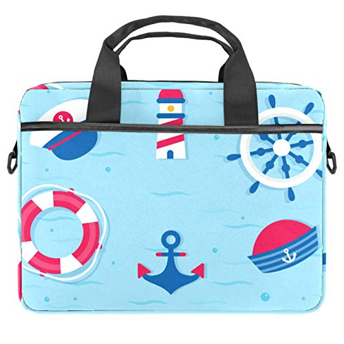 Laptop Bag Nautical Lighthouse Anchor Blue Notebook Sleeve with Handle 13.4-14.5 inches Carrying Shoulder Bag Briefcase