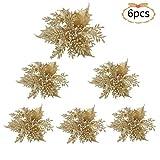 Asdomo Lot de 6 fleurs de poinsettia à paillettes de Noël, 5,9 larges, têtes de poinsettia, sapin de Noël, décorations de sapin de Noël pour bricolage, guirlande en rotin