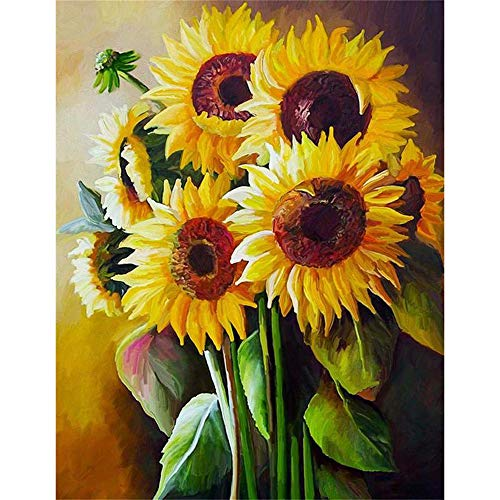 """DIY 5D Diamond Painting by Number Kit for Adults Kids, Full Drill Sunflower Flower Embroidery Painting for Home Wall Decor Painting Gem Arts Craft (12""""x16"""")"""