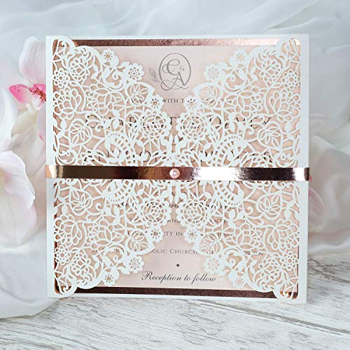 Einladungskarten Lasergeschnittene mit Spitze - Hochzeitskarten Einladungen edles Papier für Gebustag, Hochzeit, Taufe, Scrapbooking Probe - Vorgedrucktes Sample