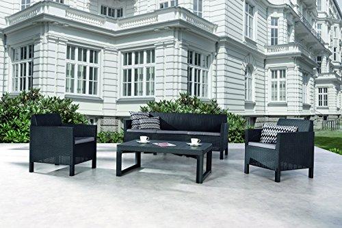 BEST 4-teilig Lounge Gruppe Amalfi groß, graphit/hellgrau, 182 x 72 x 75 cm, 96114550