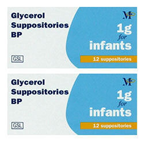 Glycerol 1g for Infants Suppositories, Pack of 2x12