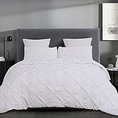 Vaulia Lightweight Microfiber Duvet Cover Sets, White-Tufted Pattern - Queen Size