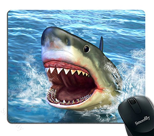 Smooffly Great White Shark Mouse Pad Custom,Great White Shark Jumping Out of Water with Its Open Mouth Non Slip Mouse Pad