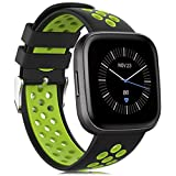 Unodrm Compatible for Fitbit Versa Strap/Versa 2 Strap for Women Men, Silicone Sport Wristband Accessory Compatible for Fitbit Versa/Versa 2/ Versa Lite/Versa Special Edition Black-Lime