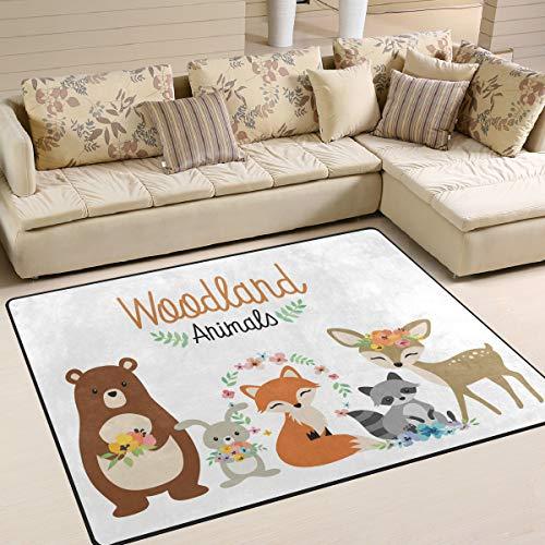 Mnsruu Teppich mit Cartoon-Motiv, Kaninchen, Fuchs, Reh, Bär, Waschbär, Blume, Teppich für Wohnzimmer, Schlafzimmer, 150 x 122 cm