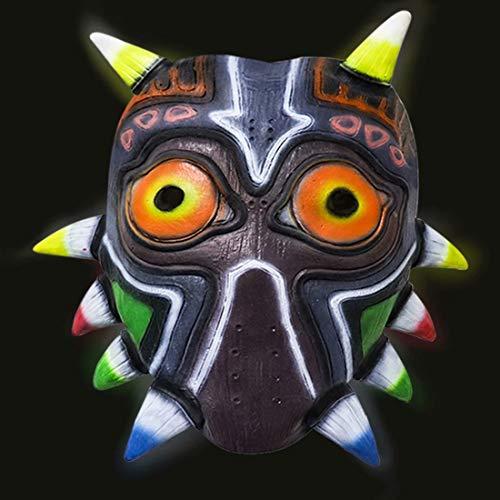 LED Light Up 3D Majora's Mask, The Legend of Zelda Glow in The Dark Latex Deluxe Mask Replica Hallowen Cosplay Costume Prop