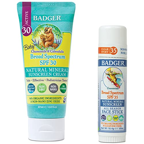 Badger Baby Sunscreen SPF 30+ and Face Stick by Badger Balm