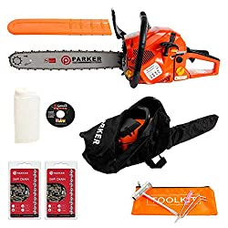 """ParkerBrand 58cc 20"""" Petrol Chainsaw + 2 x Chains + More"""