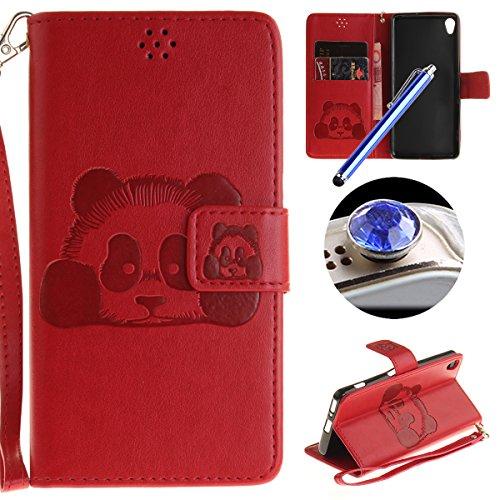 [ Sony Xperia X Performance ] Cuir Coque,Sony Xperia X Performance Housse de téléphone en Cuir, Etsue Retro Panda Motif Portefeuille en Cuir Flip Couverture de Case avec Lanière et Carte de Visite Dossier Fonction pour Sony Xperia X Performance + Cadeaux Gratuit + 1 x Bleu stylet + 1 x Bling poussière plug (couleurs aléatoires)-Rouge