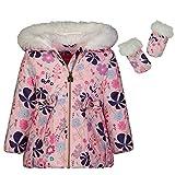 LONDON FOG Baby Girls Matte Shimmer Satin Faux Fur Bottom and Hood Jacket, Floral Print, 18Mo