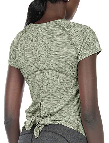 icyzone Camiseta de Fitness Yoga de Manga Corta para Mujer (M, Verde)