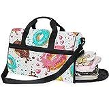 QMIN - Bolsa de viaje con diseño de donas esmaltadas de colores grandes para equipaje de mano, mochila ligera con cremallera con correa para mujeres, hombres, niñas y niños