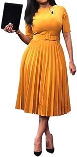 VERWIN Short Sleeve Round Neck Women's Maxi Dress Pleated Plain Belt Dress