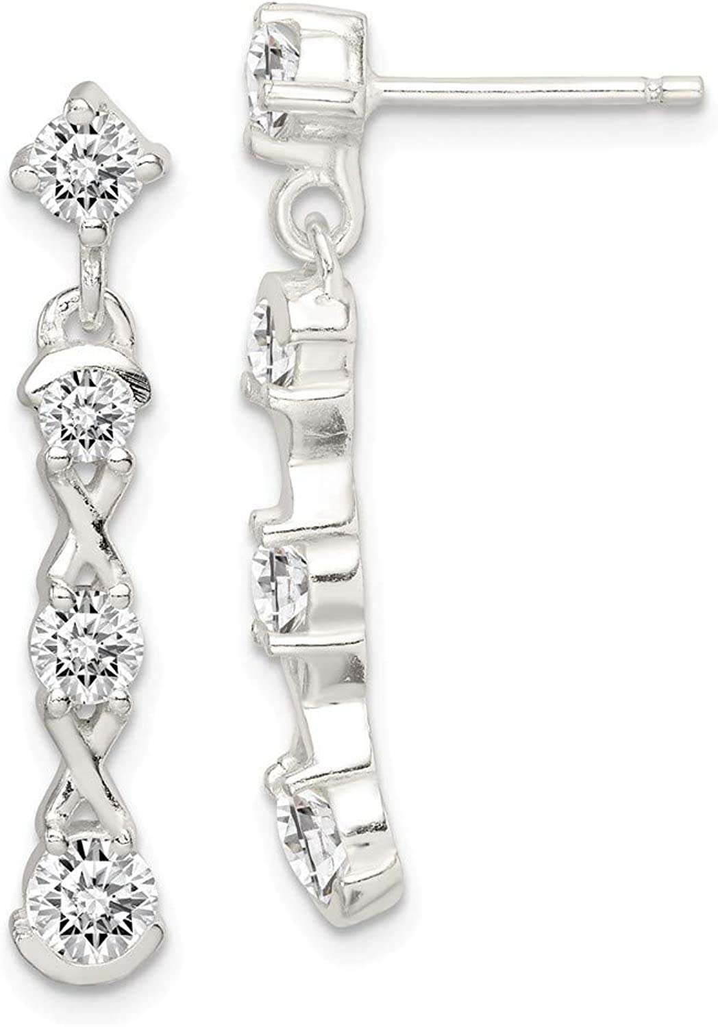 Beautiful Sterling silver 925 sterling Sterling Silver Polished CZ Post Dangle Earrings