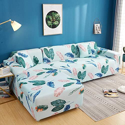 Todo Incluido Funda de sofá Fundas de sofá de 4 plazas con Estampado de celosía en Forma de L, Fundas elásticas Antipolvo Protectoras de sofá E 235-300cm 1 PCS