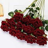 Floweroyal 12pcs Artificial Roses Velvet Flowers with Long Stem Fake Roses Bouquet DIY for Home Garden Wedding Decor (Dark Red) .