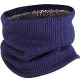 SATINIOR Calentador de Cuello con Forro Polar Braga de Cuello Bufanda de Círculo de Invierno para Hombres Mujeres, Azul Marino (Azul Marino)
