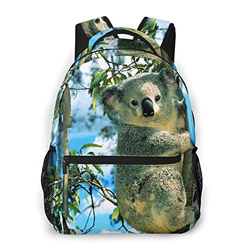 Jupsero Mochila para hombres y mujeres, lindo animal Koala escalada en árboles Mochila informal Mochila escolar de viaje Mochila