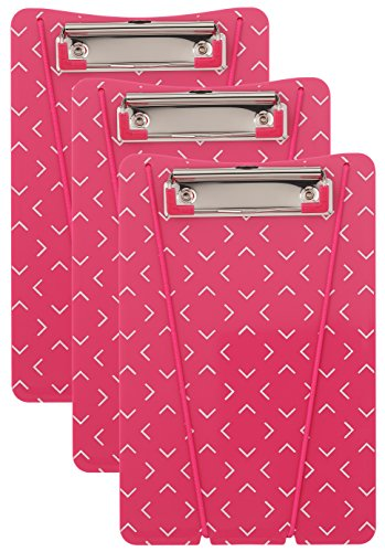 HOM Essence Memo Size, 5.75' x 8', w/Matching Bungee Cord Ultimate Clipboard, Pink, 3 Pack, 5 Piece