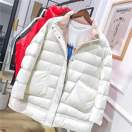 SWAQS Lange Jas Winter Oversized Losse Parka Coltrui Witte Jas Warm Parkas Sneeuw Bovenkleding Vrouwelijke Streetwear M Wit