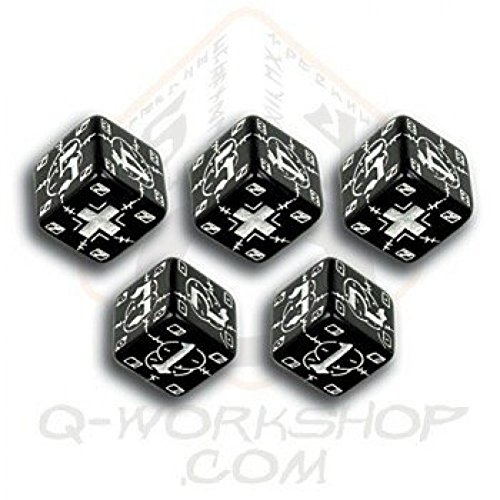 "Q-Workshop QWOWGE05 Axis and Allis Battle D6 German Dice Black/White 15"" Board Game"