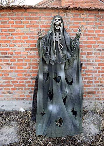 QIEGAO Accesorios de Cabeza de Fantasma de Halloween decoración de Escape de la habitación casa embrujada diseño de Barra Colgante Scary Scary Skull Colgante Fantasma Ropa Verde Cadena de Hier