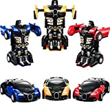 Tatuo 3 Pieces Robot Car Toy 2 in 1 Deformation Car for Kids Boys Playing Christmas Birthday Gifts (Blue Yellow and Red)