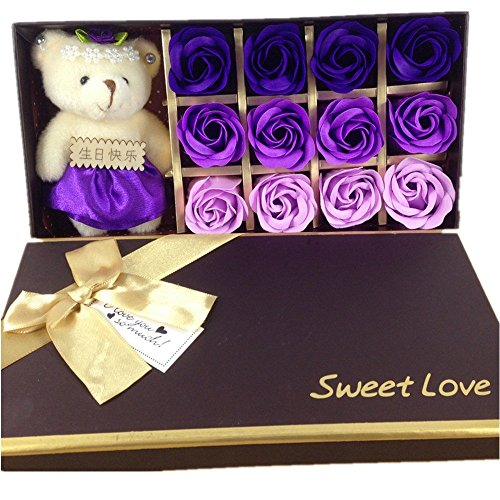 Mr.Pro 12 Flora Scented Bath Soap Rose Flower with Baby Bear Doll, (Preservative Free) Plant Essential Oil Soap, Gift for Anniversary/ Birthday/ Wedding/ Valentine's Day/ Mother's Day (12 Purple)