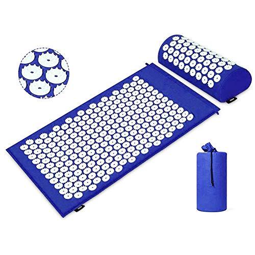Terapia digitopressione Mat Set Dolore muscolare tensione di uscita agopuntura tappetino per l'ammortizzatore del cuscino massaggio alla schiena/collo Custodia Blu