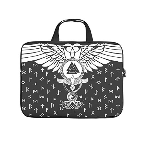 Lightweight Water-Repellent Viking Ravens and Valknut Laptop Sleeve Case Protective Bag Carry On Handle Case - for Computer Notebook white9 17 Zoll