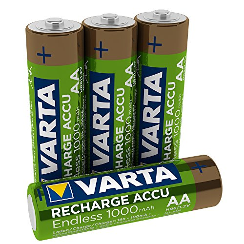 Varta Recharge Accu Endless Energy AA Mignon Ni-Mh Akku 4er Pack 1000 mAh - bis zu 3500 Ladezyklen, geringe Selbstentladung, vorgeladen und Ready2Use - wiederaufladbar ohne Memory Effekt