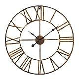 Antic by Casa Chic – Gran Reloj de Pared Metálico con Mecanismo Quartz - 60 cm Diámetro – Números Romános – Acero - Cobre