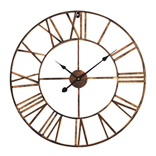 Antic by Casa Chic - Große Metall Wanduhr mit Quarz Uhrwerk - 60 cm Durchmesser - Römische Ziffern - Vintage Zeiger - Kupfer