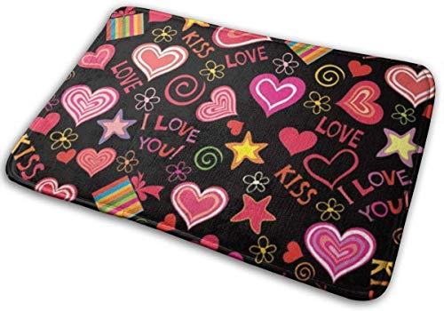Love Kiss - Alfombras de baño y alfombras de baño de espuma viscoelástica, antideslizantes, suaves, absorbentes, para interiores y exteriores, 60 x 40 cm
