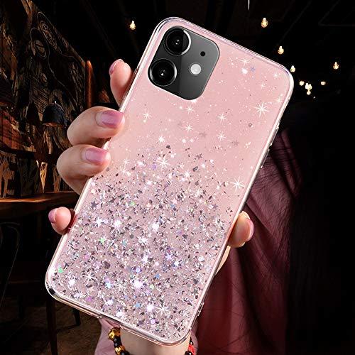 Kompatibel mit iPhone 11 Hülle,Handyhülle iPhone 11 Case,Glänzend Glitzer Strass Transparente TPU Silikon Hülle Case Tasche Weiche Silikon Rückseite Glitzer Schutzhülle,Rosa