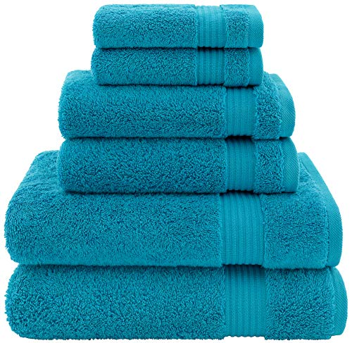 Hotel & Spa Quality, Absorbent & Soft Decorative Kitchen & Bathroom Sets, 100% Turkish Genuine Cotton 6 Piece Towel Set, Includes 2 Bath Towels, 2 Hand Towels, 2 Washcloths - Ocean Aqua