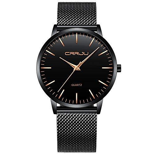 FIZILI - Reloj de pulsera para hombre, color negro, ultra delgado, minimalista, a la moda, resistente al agua, para hombres, niños, negocios, caballeros, vestido de lujo, casual, reloj de cuarzo para