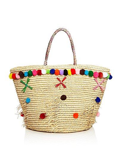 Sensi Studio Natural Beige Handmade Straw Beach Tote Handbag