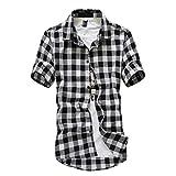 LuckyGirls Manches Courtes Hommes en Treillis à Carreaux Peinture Grande Taille Casual Top Blouse Chemises(Noir,XX-Large)