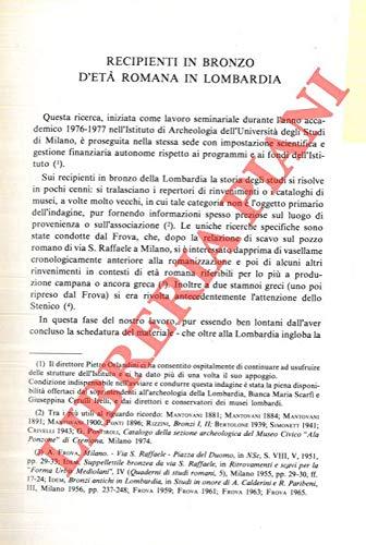 Recipienti in bronzo d'eta' romana in Lombardia.