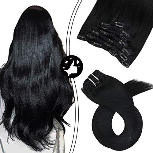 Moresoo Haar Clips Verlängerung Echthaar Clip in Schwarz/#1 Extensions für Komplette Kaarverlängerung Remy Hair Extensions Clip in Echthaar 24zoll/60cm 7pcs 100gram
