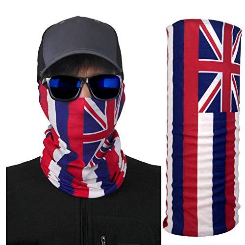 International Tie Hawaii State Flag - Face Mask Bandana, Soft & Breathable Material Multi-Functional Neck Gaiter, Balaclava, Sunmask or Headband Blue
