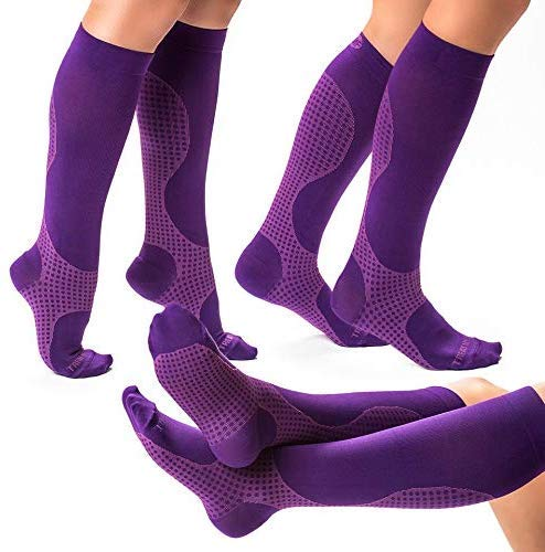 3 Pairs of Compression Socks for Women & Men Knee High Compression Socks - Relieve Calf & Leg Pain -...