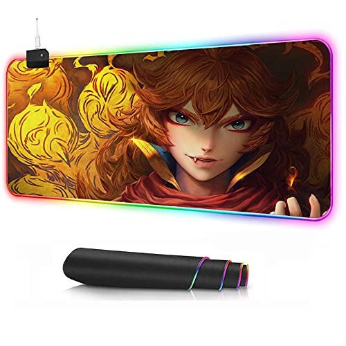 Alfombrilla de ratón con diseño de trébol negro LED para gaming, alfombrilla de ratón de color con base antideslizante para ordenador B XXXL (400 x 900 mm)