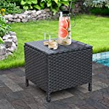 Outdoor PE Wicker Side Table with Storage Patio Resin Rattan End Table Square Container for Furniture Covers, Toys and Gardening Tools Black